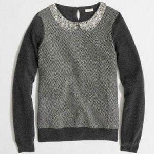 J. Crew Factory Gray Herringbone Jeweled Sweater